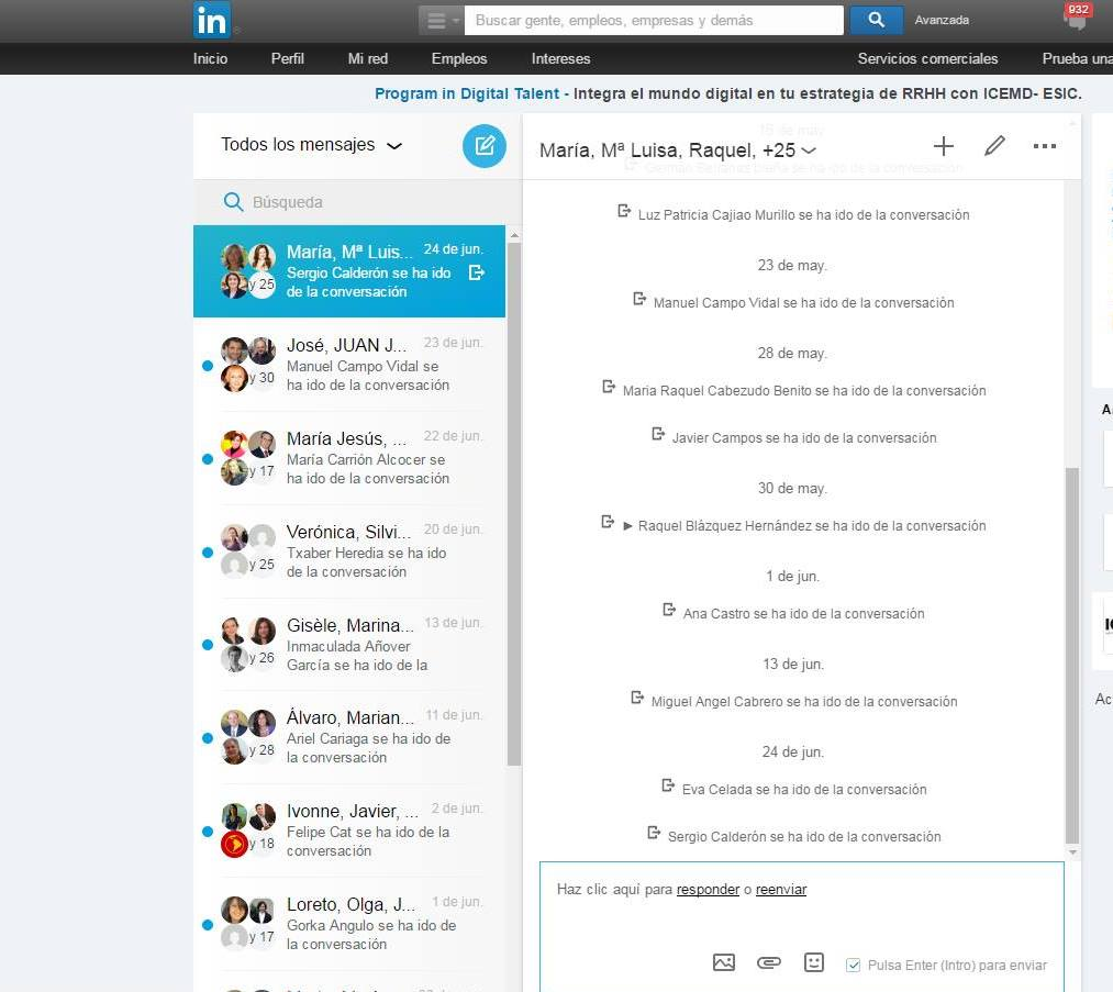 Conversaciones grupales en Linkedin